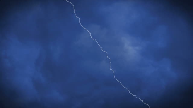Various Lightning Strikes with sound, rain thunder in cloudy sky video