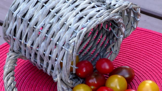 Various of colorful cherry tomatoes in a small basket on an red surface video