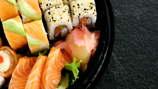 Various sushi rolls in platter video