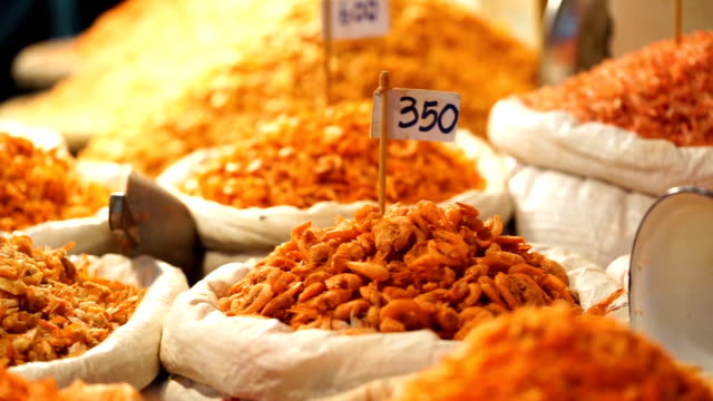 Various types of dried shrimp in pile video