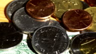 Various world coins spinning video