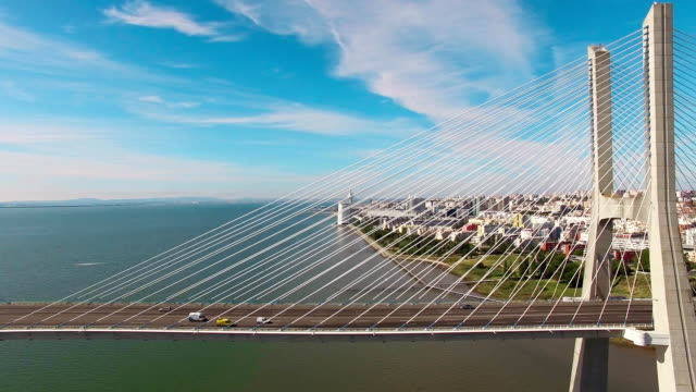 Vasco de Gama bridge aerial view Lisbon Portugal video