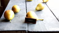 Vegan text and Juicy flavorful pears video