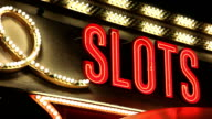 Vegas Slots Neon Sign with Blinking Lights video