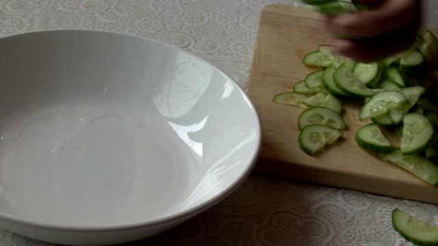 Vegetable salad. Cucumber video