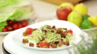 Vegetable salad on a plate video