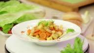 Vegetable salad with stewed pineapple video