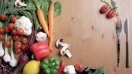 Vegetable still life, appetizing fresh vegetables video