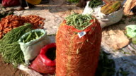 Vegetables laid out on the land for sale on Indian vegetable market video