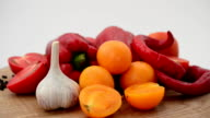 Vegetables on a kitchen board. video