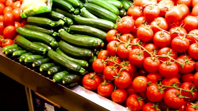 vegetables on market counter video