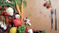 vegetables on the table, vegetable still life, colorful vegetables video