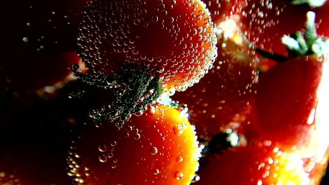 Vegetables. Tomatoes swims in water with bubbles video