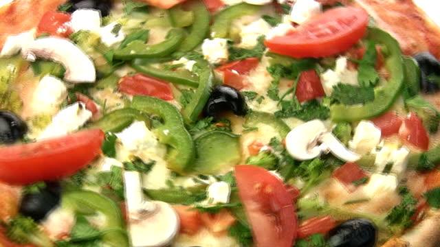 Vegetarian pizza close-up video