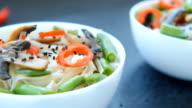 Vegetarian roasted teriyaki mushrooms and asparagus soba noodles video