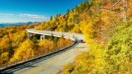 Vehicle and Motorcycle on the Iconic Linn Cove Viaduct video