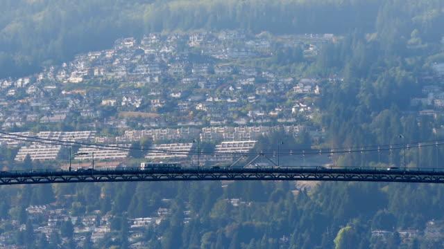 Vehicles On Suspension Bridge On Sunny Day video