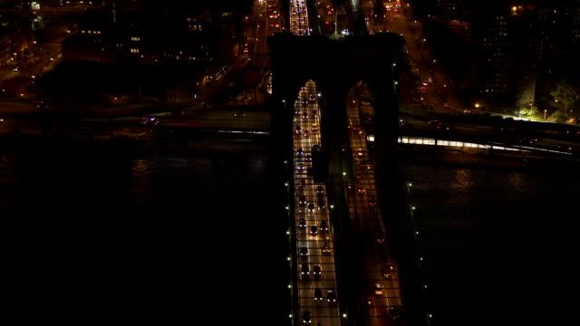 AERIAL: Vehicles stuck in gridlock on heavy traffic Brooklyn Bridge expressway video