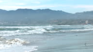 Venice Beach and Santa Monica coastline in slow motion video