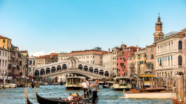 Venice city skyline timelapse at Rialto Bridge and Venice Grand Canal, Venice, Italy, 4K Time lapse video