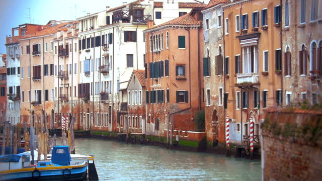 Venice cityscape with old style houses and still canal video