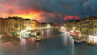 Venice, Grand canal at sunset - time lapse video