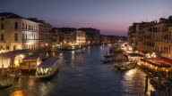 Venice Italy , Grand Canel sunset to night from rialto bridge video