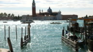 Venice italy over canal and gondola video