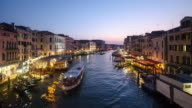 Venice, Italy Time lapse Grand Canal , sunset to night from rialto bridge video