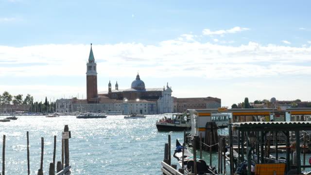 Venice with San Giorgio Maggiore Church and gondolas , Summer video