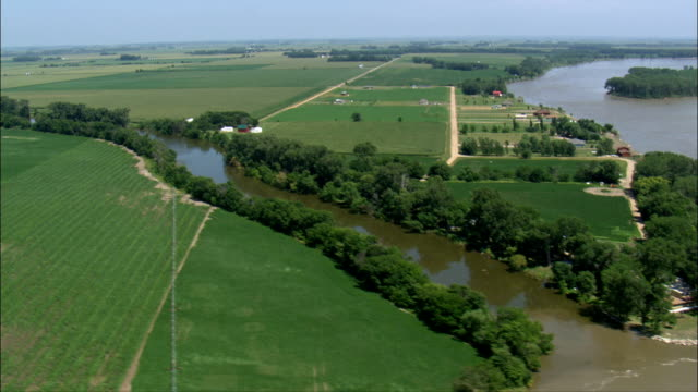 Vermillion River Meets the Missouri  - Aerial View - South Dakota, Clay County, United States video