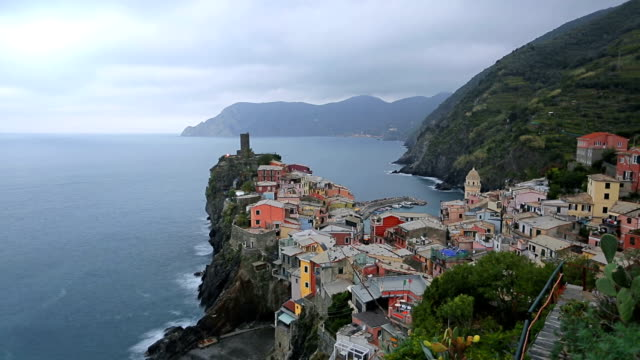 Vernazza, Cinque Terre, View from high hill on Cinque Terre national park, Liguria, Italy video