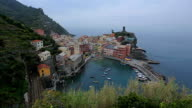 Vernazza view of houses and blue sea, Cinque Terre national park, Liguria, Italy. video