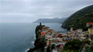 Vernazza view of houses and blue sea, Cinque Terre national park, Liguria, Italy video
