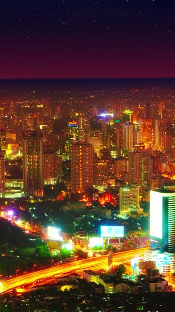 Vertical night city video