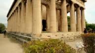 Vertical pan shot of ancient Temple of Hephaestus, Greek cultural video