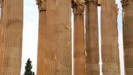 Vertical pan shot of columns, remains of antique temple, ancient architecture video