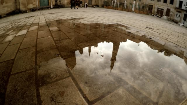 Vertical Panorama from Reflection in Puddle Of Selimiye Mosque to Building video