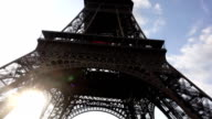 Vertical panorama of Eiffel Tower video