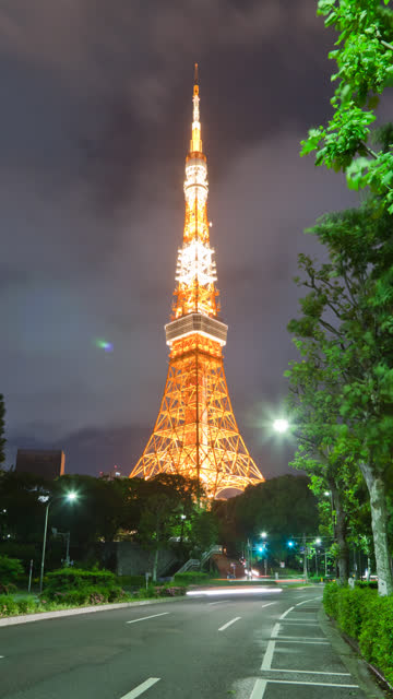 Vertical Tokyo Tower Time Lapse video