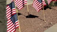 Veteran walking by small American Flags video