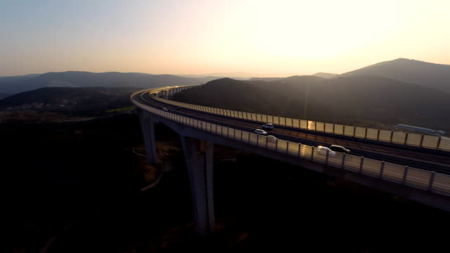 HD HELI: Viaduct At Sunset video