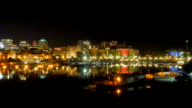 4K Victoria Canada Harbor and Empress Hotel at Night, Reflection video