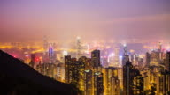 Victoria peak view point, Night city scape of Hong kong city video