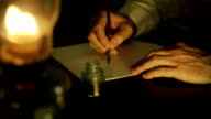 Victorian man writing by oil lamp video