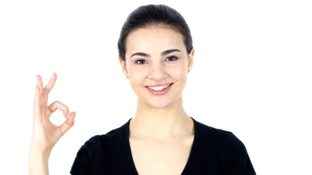 Victory Sign, Woman on White Background video