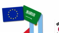 Video animation about Saudi Arabia and other G20 nations flags video