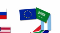Video animation about the European Union and other G20 nations flags video