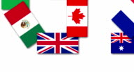 Video animation about the United Kingdom and other G20 nations flags video