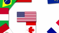 Video animation about the United States and other G20 nations flags video